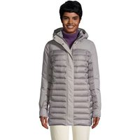 Squall & Down Hybrid Winter Coat, Women, Size: 10-12 Regular, Grey, by Lands' End