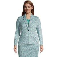 Jacquard Sport Knit Blazer, Women, Size: 20-22 Plus, Blue, Spandex, by Lands' End
