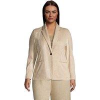 Jacquard Sport Knit Blazer, Women, Size: 28-30 Plus, Tan, Spandex, by Lands' End