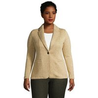 Sweater Fleece Blazer, Women, Size: 28-30 Plus, Ivory, Polyester, by Lands'End, Bisque Heather