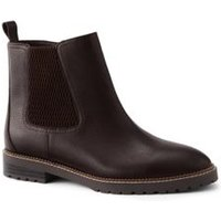 Casual Chelsea Boots, Women, Size: 6.5 Regular, Brown, Leather, by Lands'End, Oxblood Leather