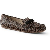 Comfort Loafers, Women, Size: 7.5 Regular, Tan, Leather, by Lands'End, Leopard Calfhair