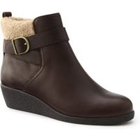Wedge Boots, Women, Size: 7 Wide, Brown, Leather, by Lands' End