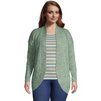 Long Sleeve Cocoon Cardigan, Women, Size: 24-26 Plus, Green, Acrylic, by Lands' End