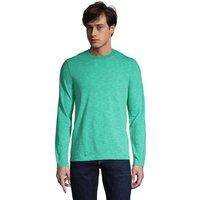 Long Sleeve Slub Jersey T-shirt, Men, Size: 38-40 Regular, Green, Cotton Modal, by Lands' End