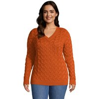 Cotton Drifter V-Neck Jumper, Women, Size: 24-26 Plus, Orange, by Lands' End