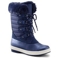 Insulated Quilted Snow Boots, Kids, Size: 5 Girl, Blue, Nylon, by Lands' End.