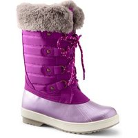 Insulated Quilted Snow Boots, Kids, Size: 2 Girl, Pink, Nylon, by Lands' End.
