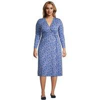 Twist Front Fit & Flare Wrap Dress, Women, Size: 24-26 Plus, Blue, Cotton Modal, by Lands' End