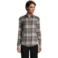 Long Sleeve Flannel Boyfriend Shirt, Women, Size: 10-12 Regular, Grey, Cotton, by Lands' End
