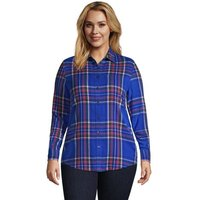 Long Sleeve Flannel Boyfriend Shirt, Women, Size: 24-26 Plus, Blue, Cotton, by Lands' End