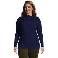 Cotton Cable Side Split Polo Neck Jumper, Women, Size: 28-30 Plus, Blue, by Lands' End