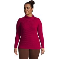 Cotton Cable Side Split Polo Neck Jumper, Women, Size: 20-22 Plus, Red, by Lands' End