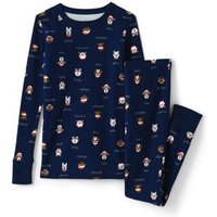Pattern Snug Fit Pyjama Set, Kids, Size: 10-11 yrs Kid, Blue, Cotton, by Lands' End.