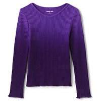 Long Sleeve Waffle Top, Kids, Size: 18 - 24 months Toddler, Purple, Spandex, by Lands' End