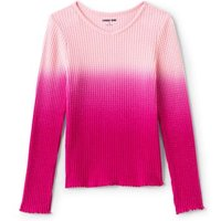 Little Long Sleeve Waffle Top, Kids, Size: 5-6 yrs Little Girl, Pink, Spandex, by Lands' End.