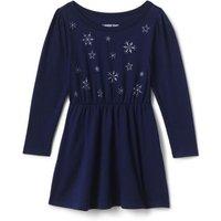 Cinched Waist Pattern Dress, Kids, Size: 18 - 24 months Toddler, Blue, Cotton, by Lands' End