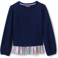 Little Sweatshirt and Ruffle Hem Top, Kids, Size: 5-6 yrs Little Girl, Blue, Spandex, by Lands' End.