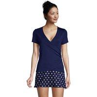 UPF 50 V-neck Rash Vest, Women, Size: 14-16 Regular, Blue, Spandex, by Lands' End