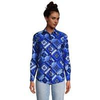 Cotton Boyfriend Fit Long Sleeve Tunic Top, Women, Size: 8 Regular, Blue, by Lands' End