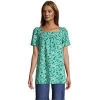 Cotton-Viscose Square Neck Tunic Top, Women, Size: 14-16 Regular, Green, Cotton, by Lands' End