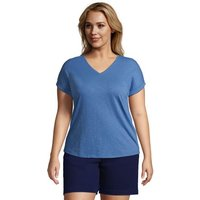 Slub Jersey Short Sleeve V-Neck T-Shirt, Women, Size: 24-26 Plus, Blue, Cotton-blend, by Lands' End