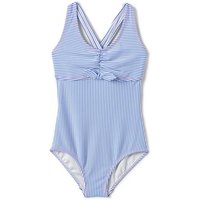 Seersucker Swimsuit, Kids, Size: 12-13 yrs Kids, Blue, Spandex, by Lands' End