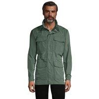 Four Pocket Military Jacket, Men, Size: 42-44 Regular, Green, Polyester, by Lands' End