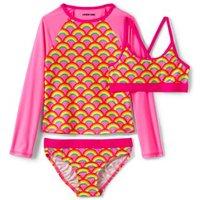Three Piece Rash Vest Set, Kids, Size: 10-11 yrs Kids, Pink, Poly-blend, by Lands' End