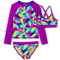 Three Piece Rash Vest Set, Kids, Size: 4 yrs Kids, Poly-blend, by Lands' End