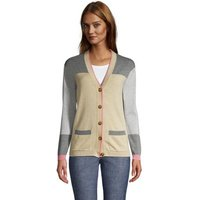 Fine Gauge Cotton V-Neck Cardigan, Women, Size: 14-16 Regular, Tan, by Lands' End