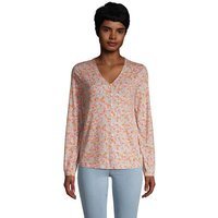 Long Sleeve V-Neck Button Front Shirt, Women, Size: 8 Regular, Pink, Spandex, by Lands' End
