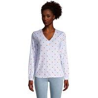Long Sleeve V-Neck Button Front Shirt, Women, Size: 14-16 Petite, Blue, Spandex, by Lands' End