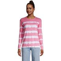 Fine Gauge Cotton Crew Neck Jumper, Women, Size: 14-16 Regular, Pink, by Lands' End