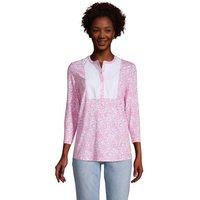 Three-Quarter Sleeve Curved Hem Tunic, Women, Size: 20 Regular, Pink, Spandex, by Lands' End