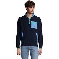 Mix Media Fleece Half Zip Top, Men, Size: 42-44 Regular, Blue, Polyester, by Lands' End
