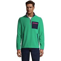 Mix Media Fleece Half Zip Top, Men, Size: 46-48 Regular, Green, Polyester, by Lands' End