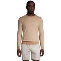 Crew Neck Striped Jumper, Men, Size: 46-48 Regular, Tan, Cotton-blend, by Lands' End