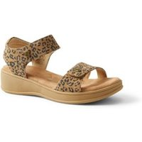 Comfort Casual Wedge Sandals, Women, Size: 4.5 Regular, Leather, by Lands' End