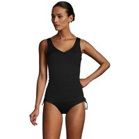 Adjustable Chlorine Resistant V-neck Underwire Tankini Top, Women, Size: 20 Regular, Black, Nylon-bl