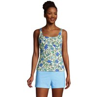 Square Neck Tankini Top - D cup, Women, Size: 16 Regular, Ivory, Spandex, by Lands' End
