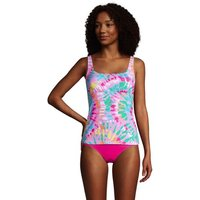 Adjustable Chlorine Resistant Square Neck Underwire Tankini - D cup, Women, Size: 14-16 Regular, Pin