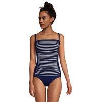 Long Bandeau Tankini Top, Women, Size: 20 Long, Blue, Nylon-blend, by Lands' End