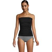 Long Bandeau Tankini Top, Women, Size: 14 Long, Black, Nylon-blend, by Lands' End