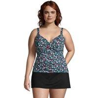 V-Neck Wrap Tankini Top, Women, Size: 26 Plus, Black, Nylon-blend, by Lands' End