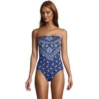 Chlorine Resistant Tummy Control Bandeau Swimsuit, Women, Size: 18 Regular, Blue, Nylon-blend, by La