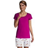 Short Sleeve Cotton Gauze Top, Women, Size: 14-16 Regular, Purple, by Lands' End