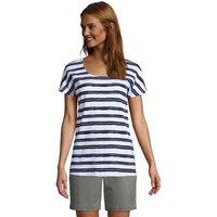 Short Sleeve Cotton Gauze Top, Women, Size: 8 Regular, White, by Lands' End