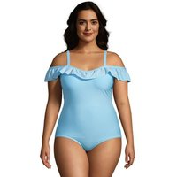 Chlorine Resistant Off The Shoulder Ruffle Swimsuit, Women, Size: 26 Plus, Green, Nylon-blend, by La