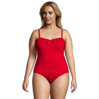Chlorine Resistant Ruffle Control Tankini Top, Women, Size: 28 Plus, Red, Spandex, by Lands' End